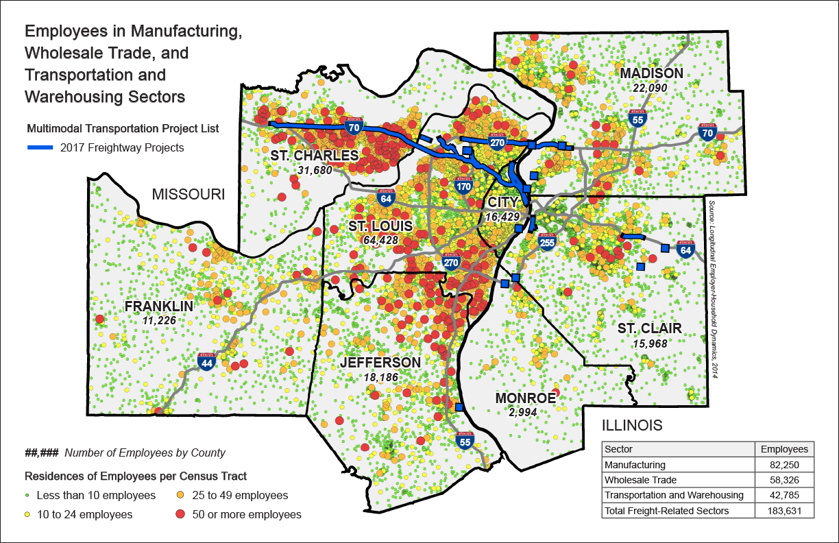 St. Louis Regional Freightway | Employees in Manufacturing, Wholesale Trade, and Transportation and Warehousing Sectors