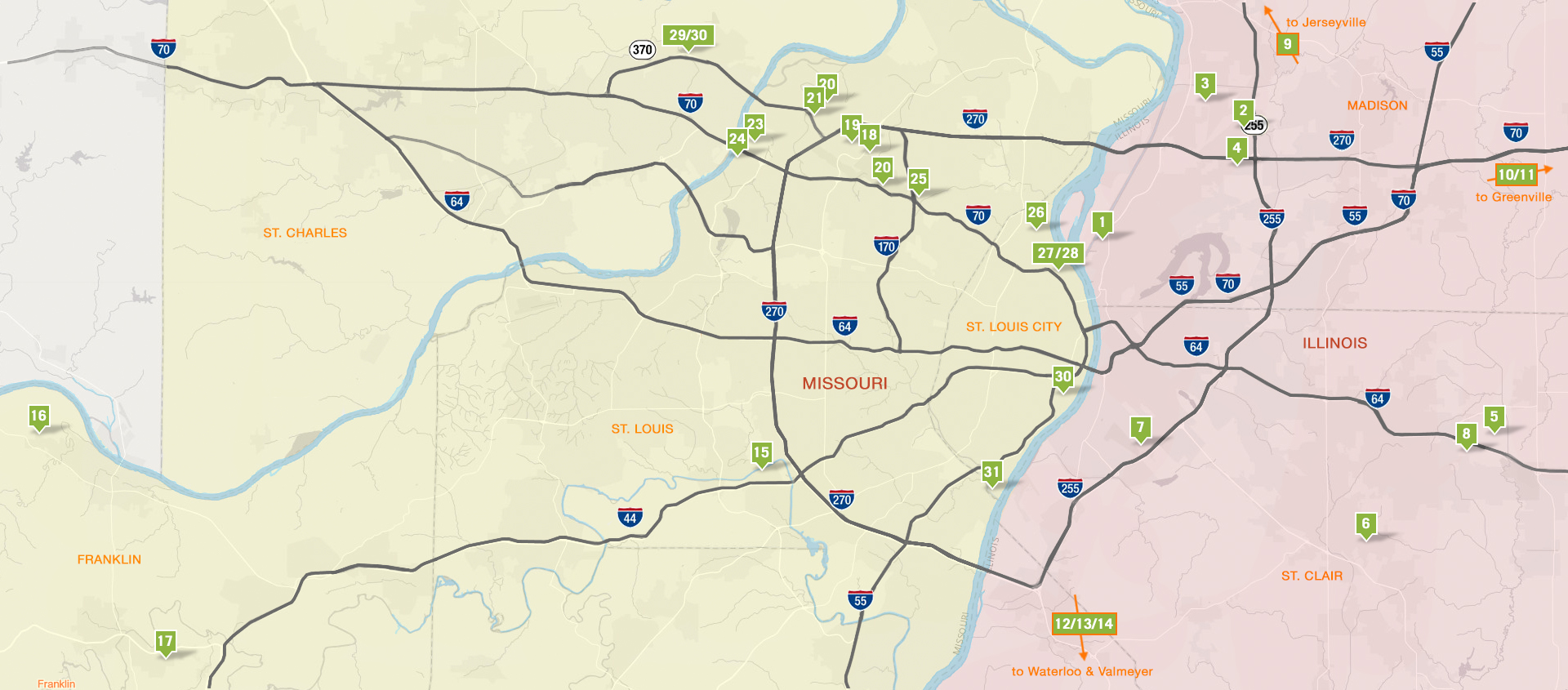 St. Louis Regional Freightway Industrial Real Estate Sites Map