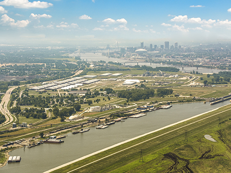 Pictured is America's Central Port with the city of St. Louis in the background. (Photo courtesy of America's Central Port)