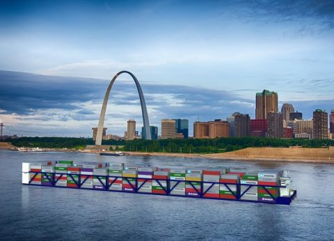 Artists rendering of a modern container vessel on the Mississippi River in front of the Gateway Arch in St. Louis.