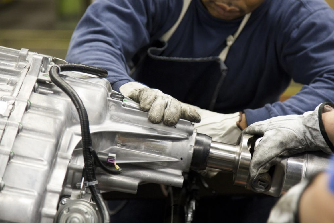 An employee works at the General Motors Wentzville assembly plant.