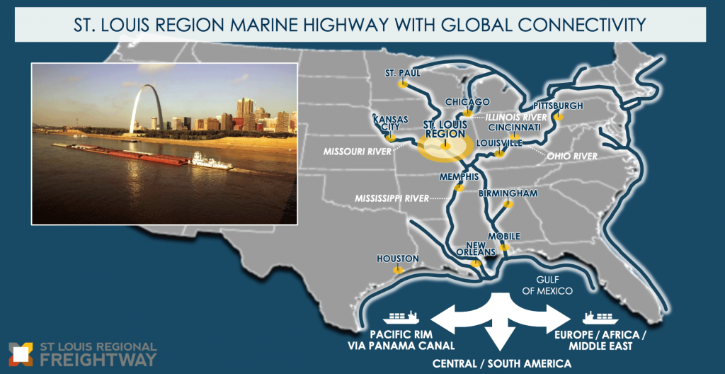 A map of the United States' marine highway system connected to the St. Louis region and a picture of a barge traveling on the Mississippi River adjacent to downtown St. Louis. The system shows 4 major rivers in the northeast and mid-west United States. The Illinois River provides connection to Chicago. The Ohio River provides connections to Pittsburgh, Cincinnati, and Louisville. The Missouri River provides connection to Kansas City. The Mississippi River provides connections to St. Paul, Memphis, and New Orleans. Additional river routes provide connections to Birmingham and Mobile. The Great Lakes are accessible to the St. Louis region by the Illinois River and connect to the east coast via the Erie Canal and Hudson River. The St. Louis region's connection to New Orleans and Mobile provides access to other ports in the Gulf of Mexico, such as Houston, and global shipping access to the Pacific Rim via the Panama Canal, Central and South America, Europe, Africa, and the Middle East.