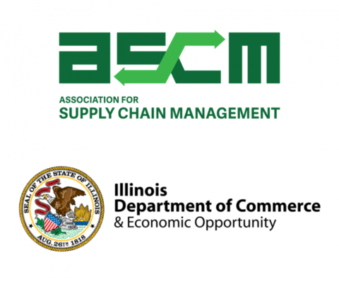 Association for Supply Chain Management green logo in the top center, and the Illinois Department of Commerce and Economic Opportunity logo on the bottom, both on a white background