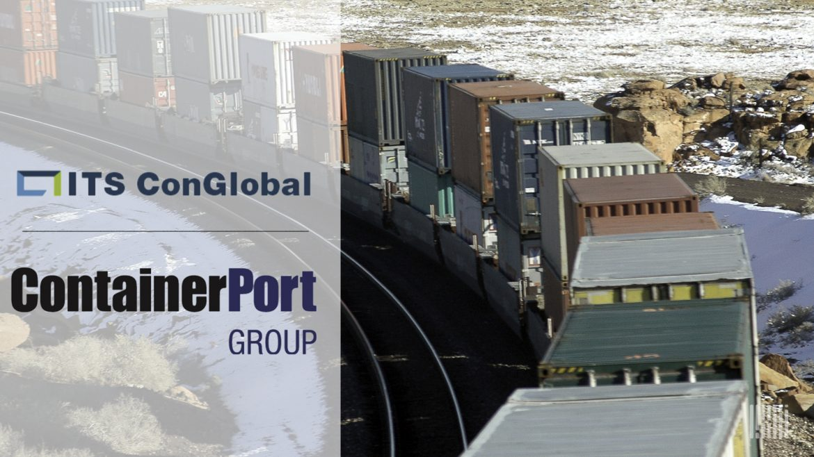 Photo of a freight train with company logos: ContainerPort Group sells some assets to ITS ConGlobal. (Photo: Jim Allen/FreightWaves)