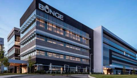 Image of the outside of Bunge Headquarter building, with the Bunge logo showing on the building