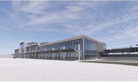 Rendering of the MidAmerica Airport Terminal. Caption: Holland Construction Services begins second phase of MidAmerica Airport Terminal Project