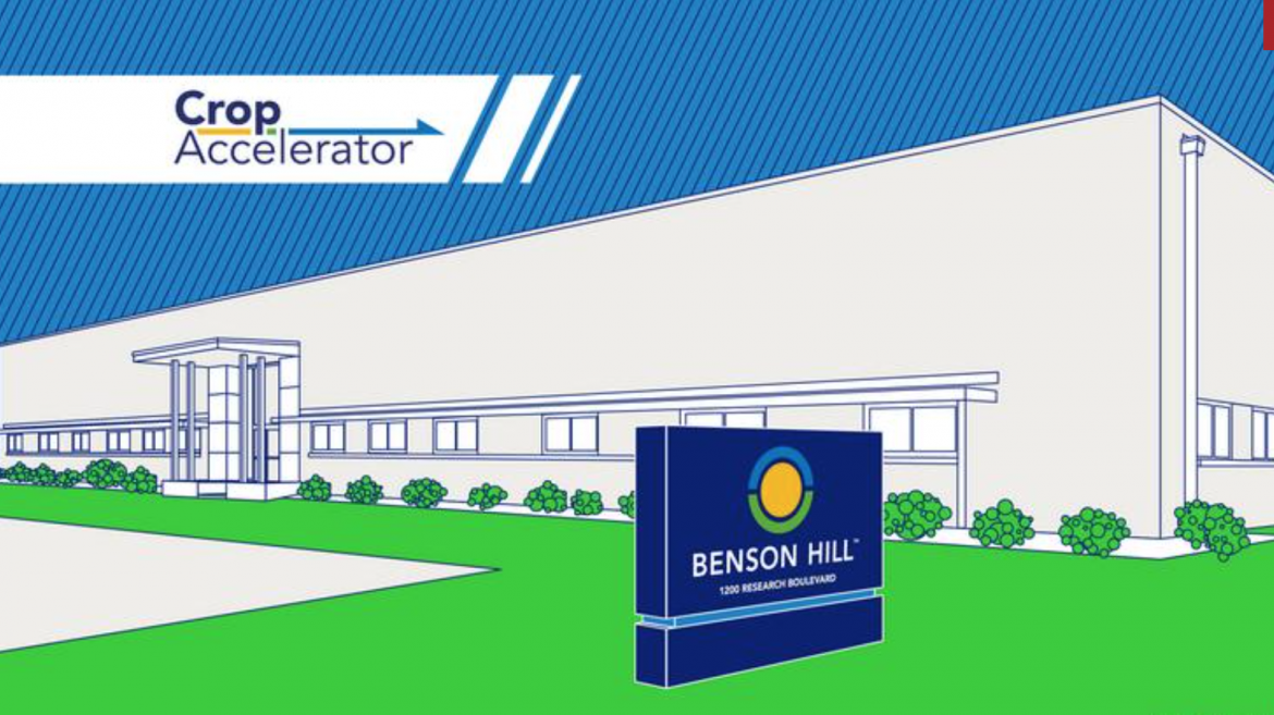 An artist's rendering of the new 47,000-square-foot Crop Accelerator in Creve Coeur with Benson Hill's logo on a sign in front.