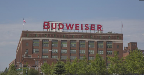 Photo shows front of Anheuser-Busch's North American headquarters located in Soulard.