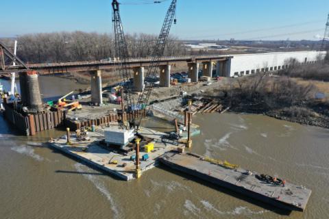 Progress continues on the Merchants Bridge. Photo courtesy of Walsh Construction.