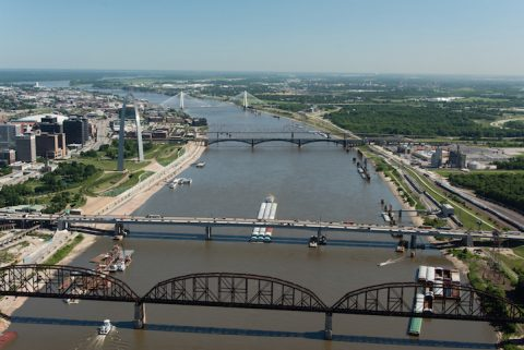 Barges on the Mississippi River at Downtown St. Louis.