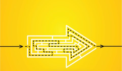 Yellow background with a white arrow pointing to the right