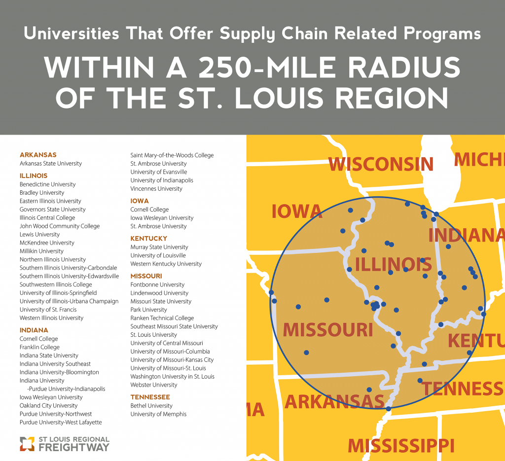 Map of the Midwest showing universities