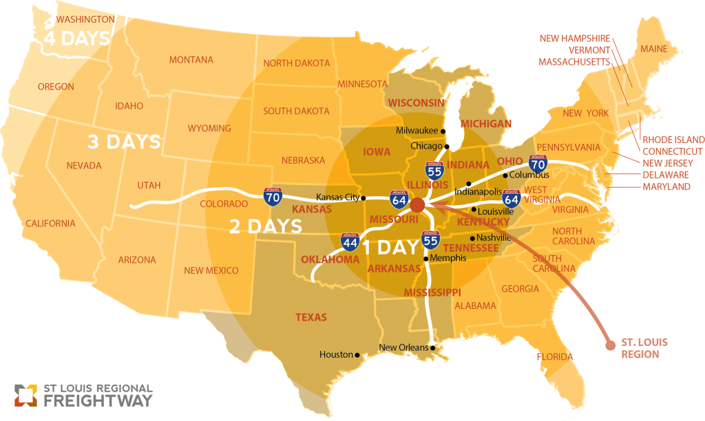A map of the United States of America with a dot on the St. Louis region. Differently shaded and sized circles are added around the dot to detail the how many days in drive time it takes to get to places within each circle. The days grow from one to four the further away one travels.