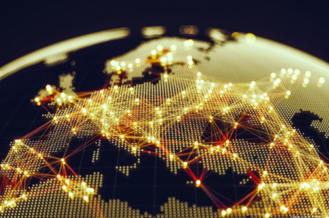 Stock image of a map showing connectivity throughout the world