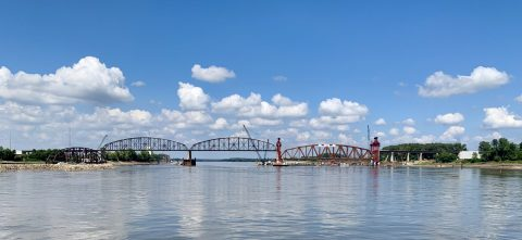 Riverboat Cruise Provides Opportunity to View Installation of the First of Three New Trusses on the Merchants Bridge