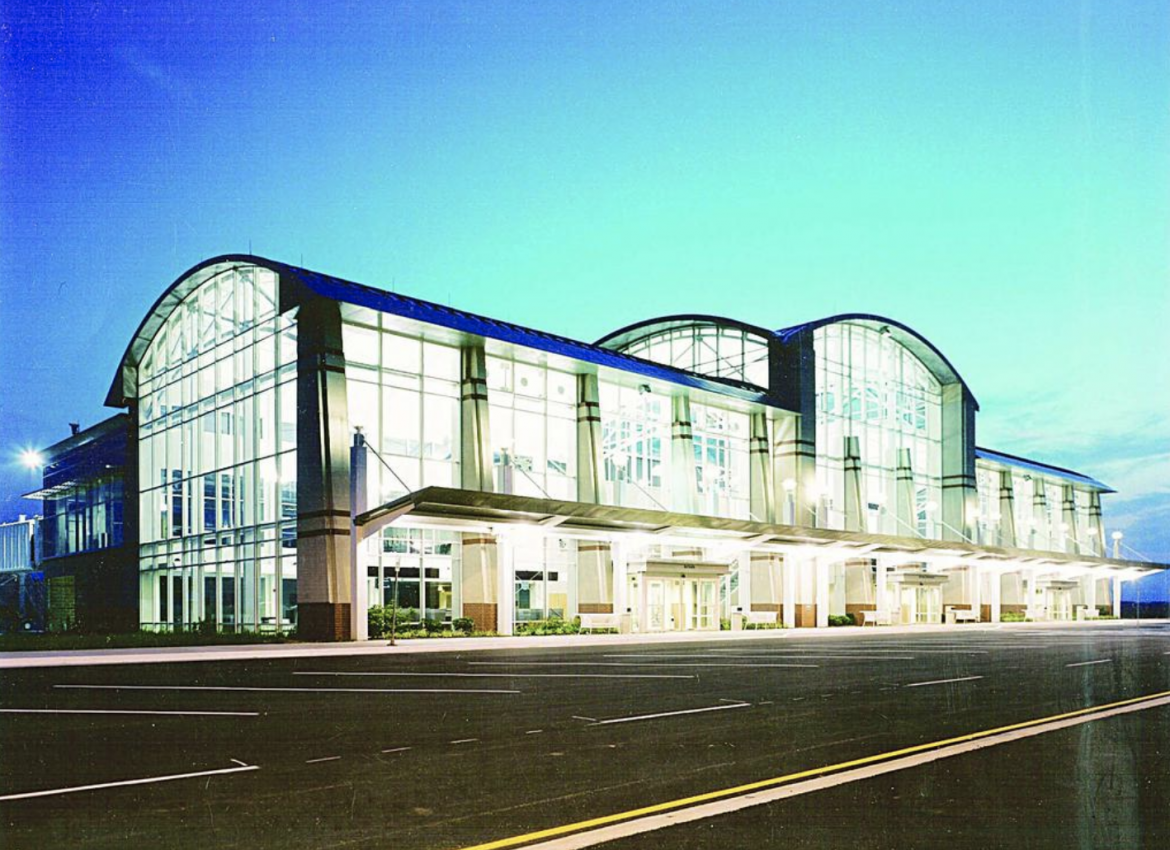 The passenger terminal at MidAmerica St. Louis Airport in St. Clair County, Illinois.