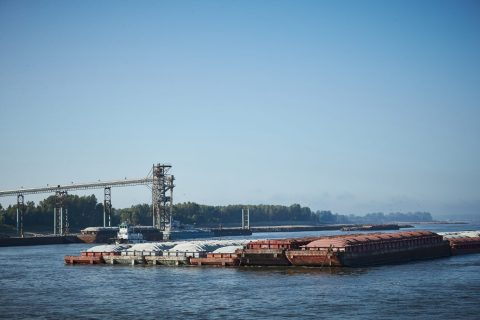 Barges and a barge terminal on the Mississippi River.