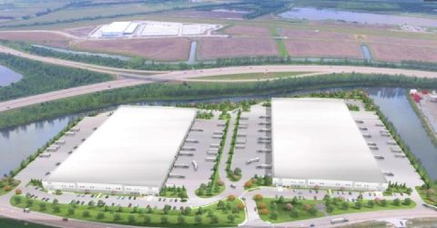 This rendering shows an aerial view of what the two speculative warehouses under construction at the Premier 370 Business Park in St. Peters will look like.
